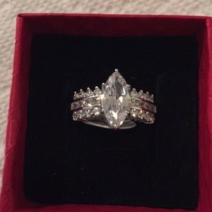 Sterling silver Marquis cut white sapphire size 10